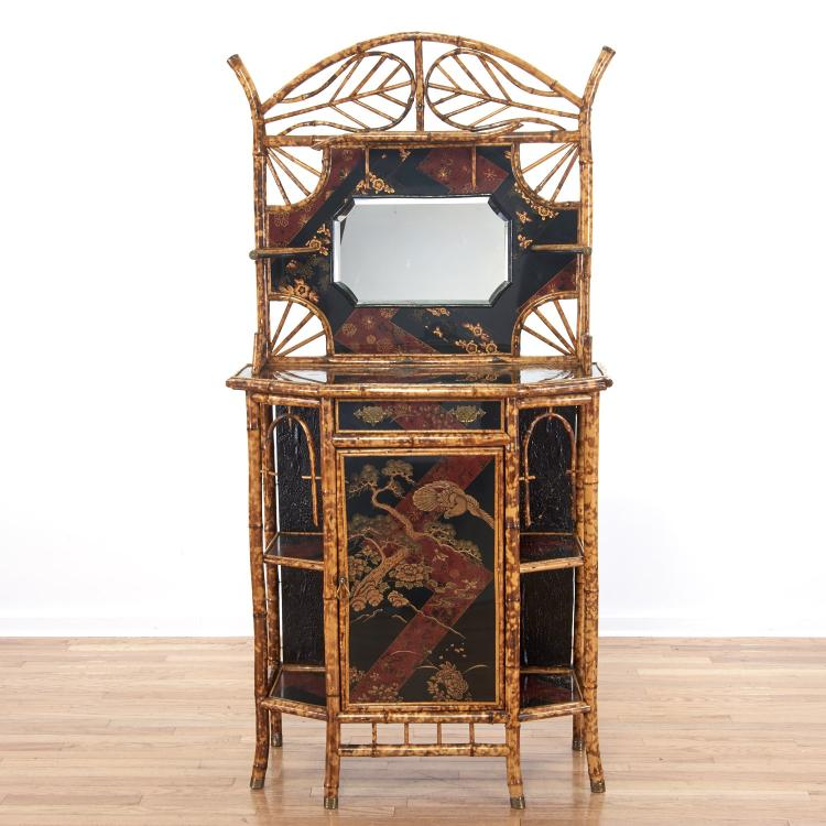 Victorian bamboo, chinoiserie lacquer etagere