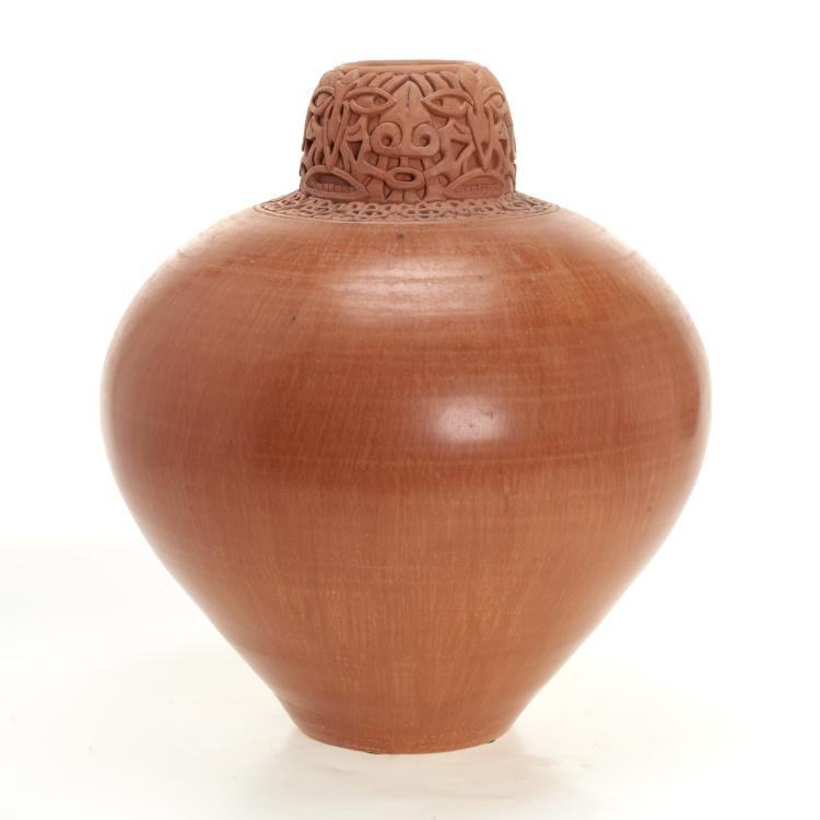 Large terra-cotta vase by Jeff Margolin