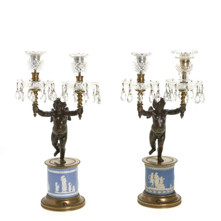 Pair Empire bronze and jasper frieze candelabra