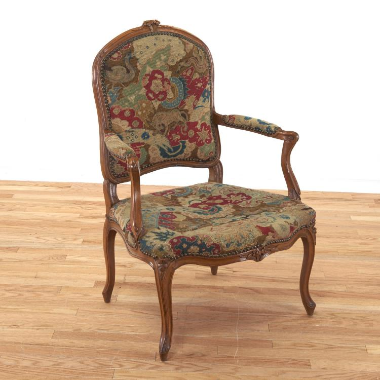 Louis XV needlepoint fruitwood fauteuil