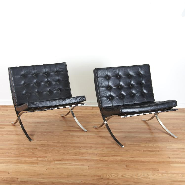 Important pair Mies Van der Rohe Barcelona chairs