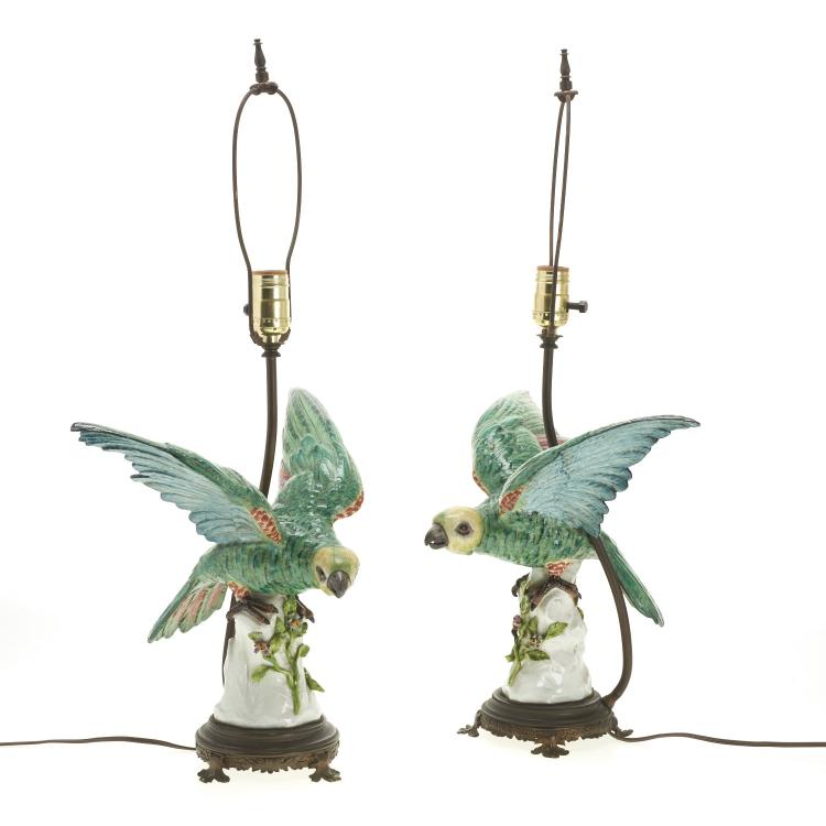 Pair Samson porcelain bird table lamps