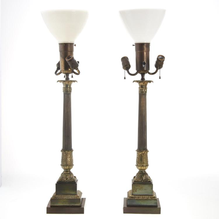 Pair Empire style parcel gilt column table lamps