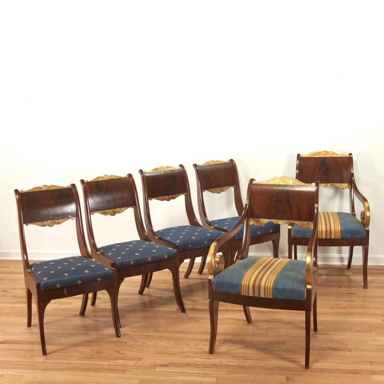 Assembled set (6) Russian Neo-Classical chairs