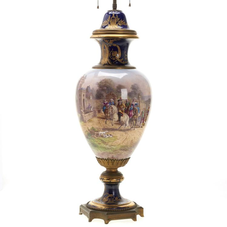 Large Sevres bronze mounted porcelain urn
