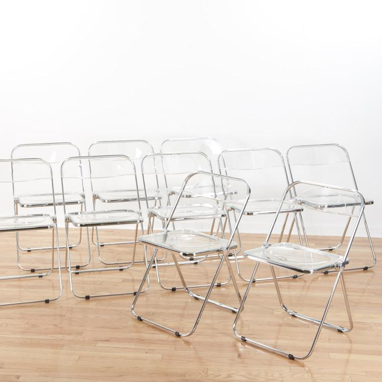 Set (8) Castelli Pila Lucite folding chairs