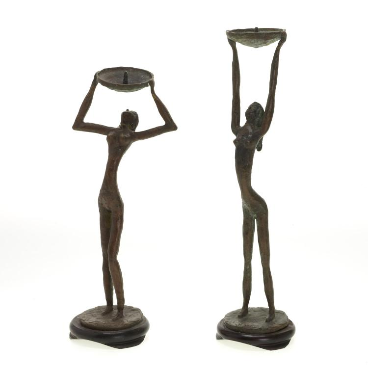 Pair Mid-Century figural bronze candlesticks