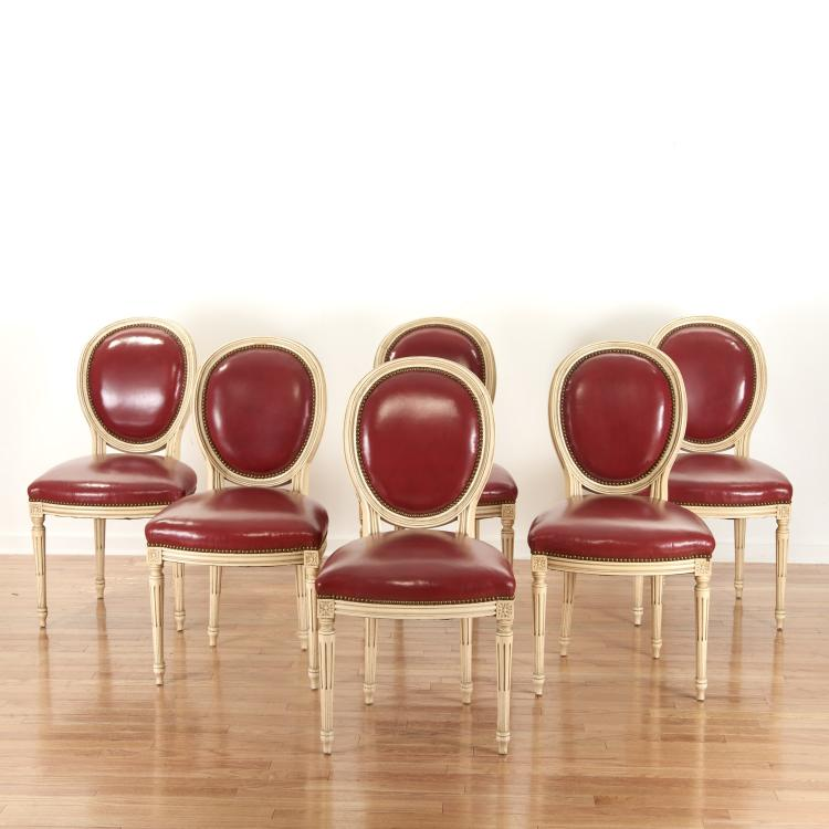 Set (8) Louis XVI style red leather dining chairs