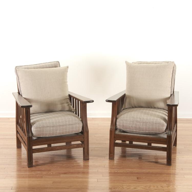 Pair Decorator mission style hardwood armchairs
