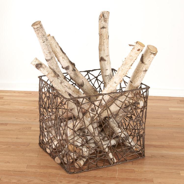 Brutalist modern metal studio kindling basket