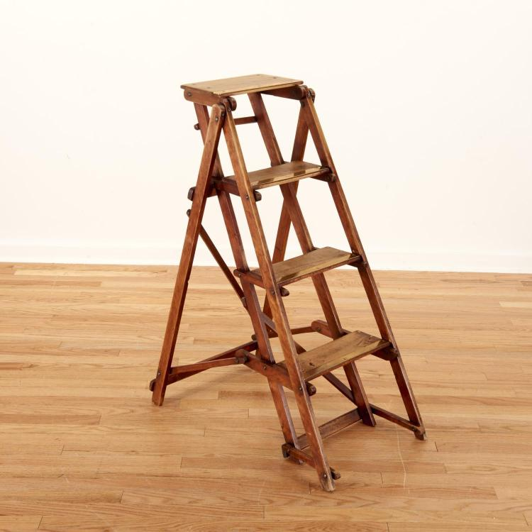 Antique brass and walnut folding library ladder