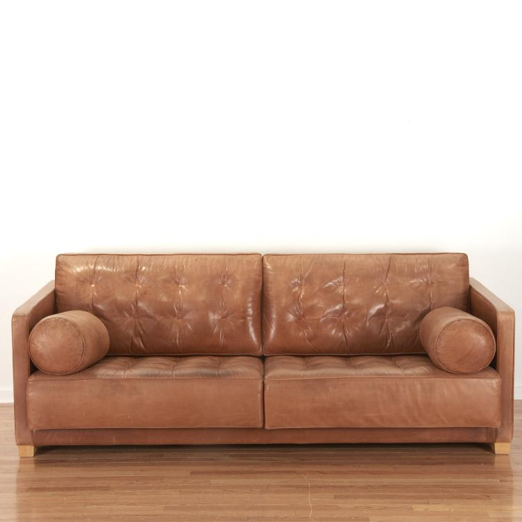 Nice Italian Flexform distressed leather sofa
