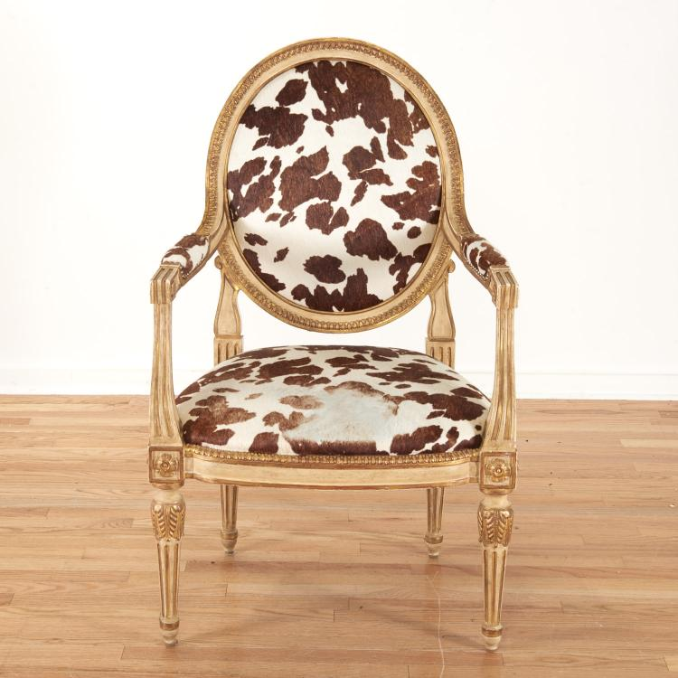 Louis XVI style cowhide fauteuil by Dennis & Leen