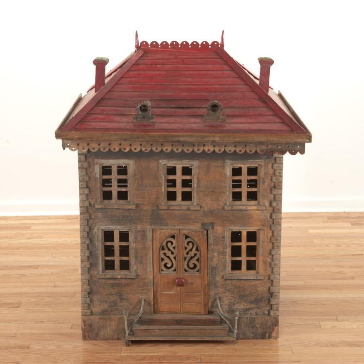 French chateau-form paint decorated dog house