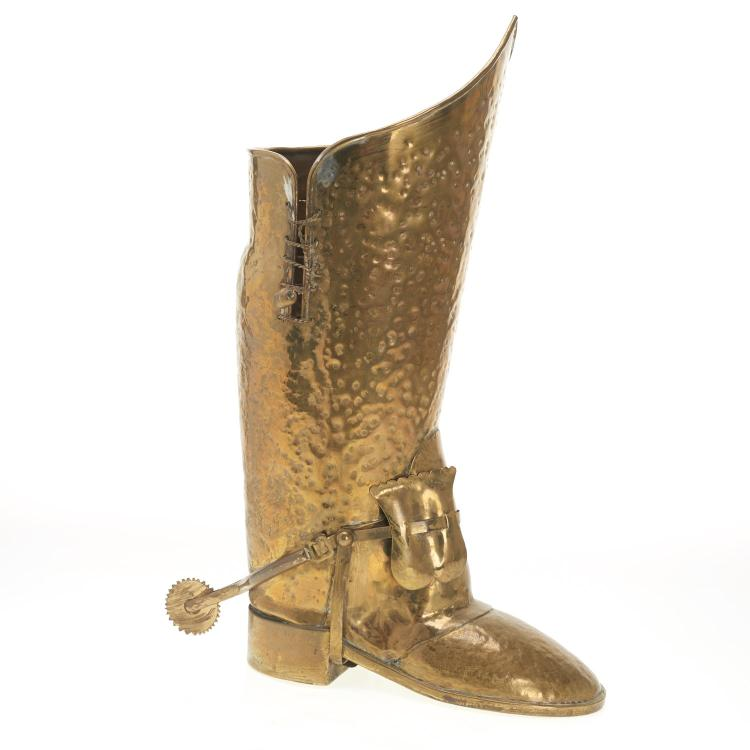 Lombard style brass boot umbrella stand