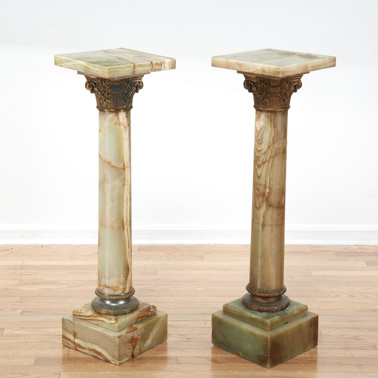 Pr Napoleon III style gilt, onyx pedestals