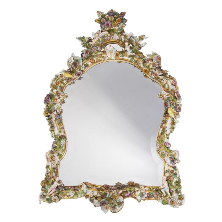 Large Antique Meissen porcelain wall mirror