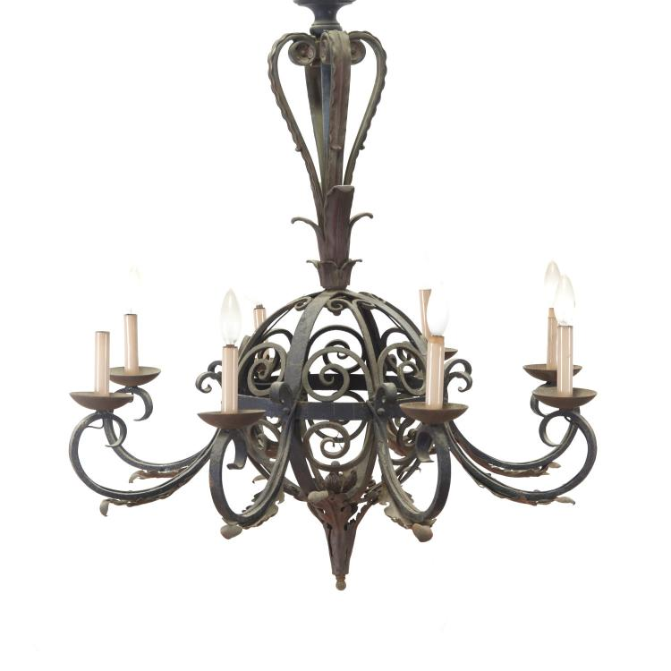 Continental baroque style cast iron chandelier