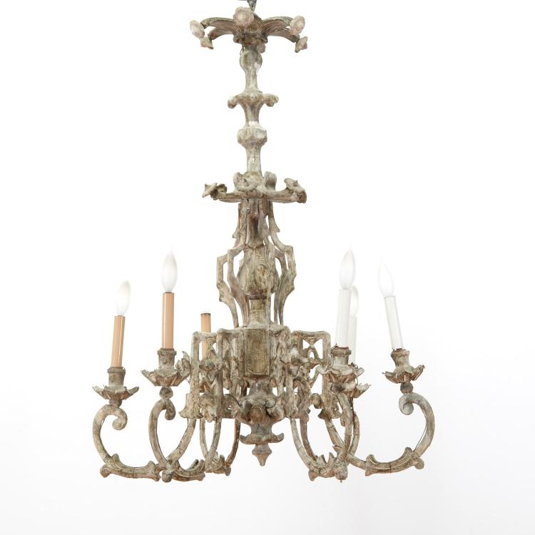 Continental Rococo cream painted chandelier