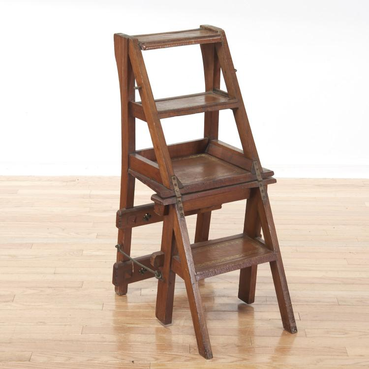 English metamorphic mahogany library ladder