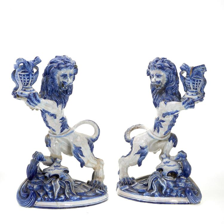 Pair Galle St. Clement faience candleholders