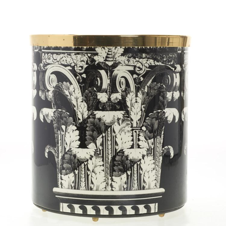 Acanthus lacquer waste basket by Fornasetti Milano