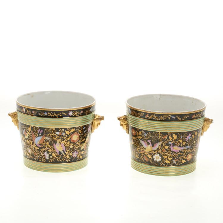 Pair Paris Porcelain parcel gilt cache pots