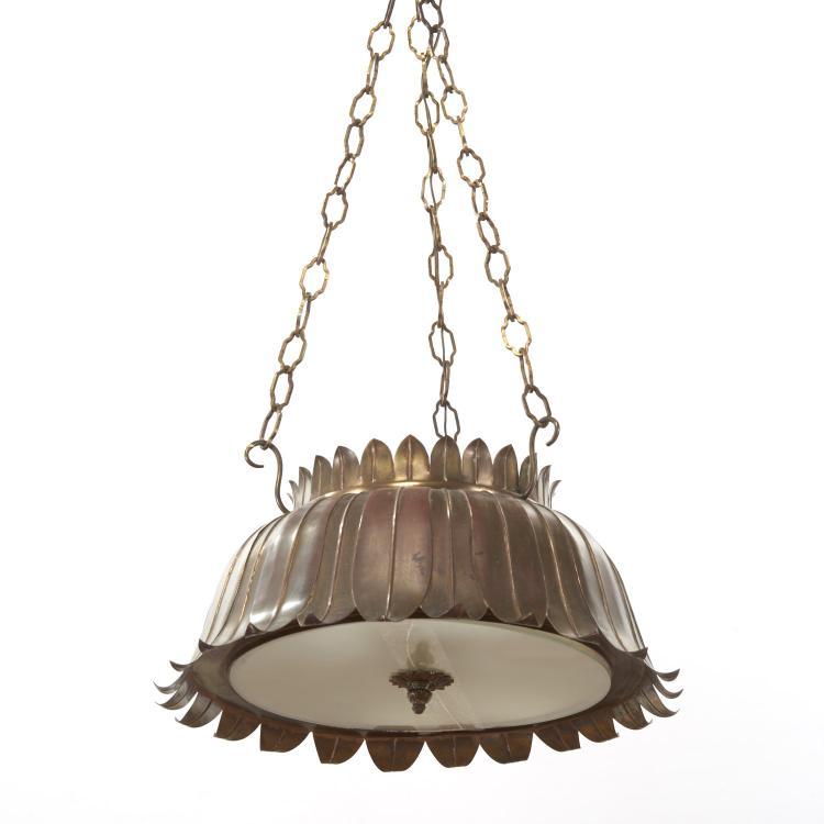 Mid-Century brass floriform pendant chandelier