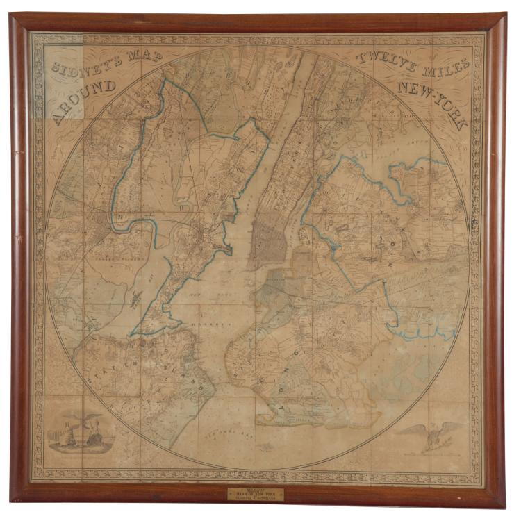 Rare Sidney's Map Twelve Miles Around New York