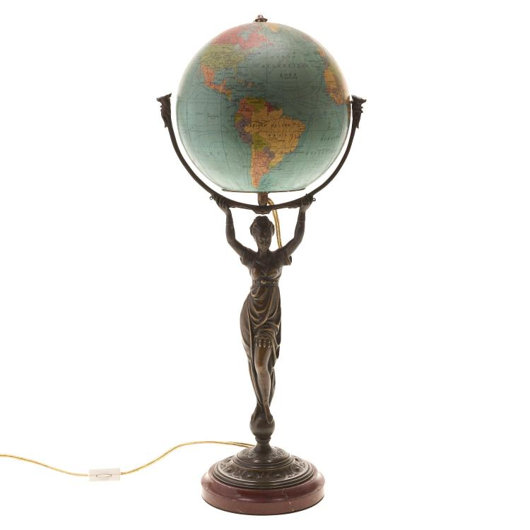 Belle Epoque bronze mounted globe lamp