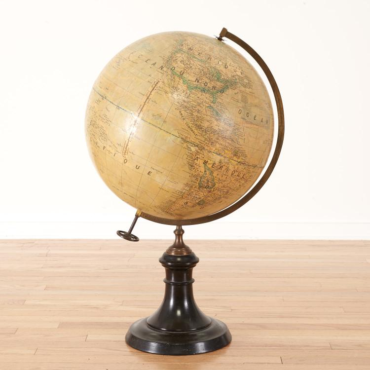 French terrestrial library globe by J. Forest