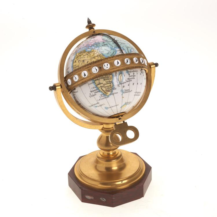 French bronze mounted enameled globe clock
