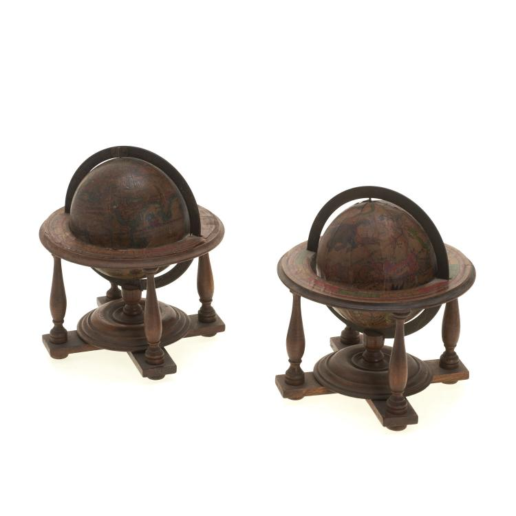 Pair miniature terrestrial, celestial table globes