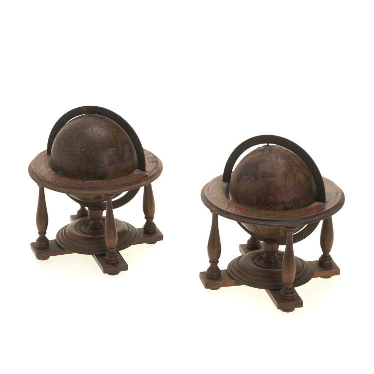 Pair miniature terrestrial, celestial table globes