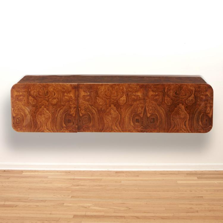 Pace Collection wall 9810 hung burl wood credenza