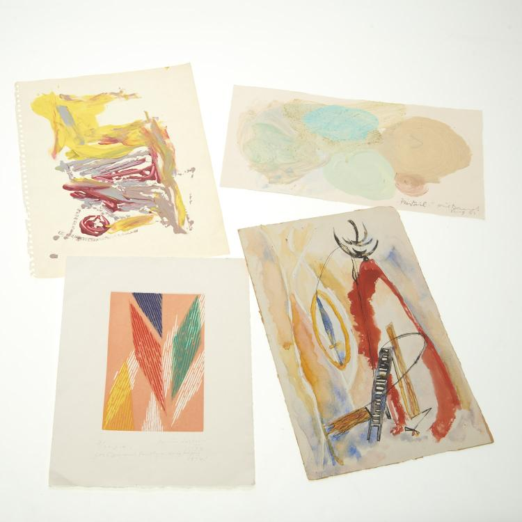 (4) Abstract paintings on paper inc. Piero Dorazio