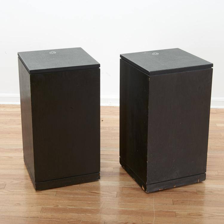 Modernist ebonized pedestals ex Seagram Building