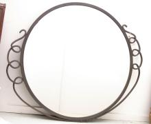 Large Modernist wrought iron wall mirror