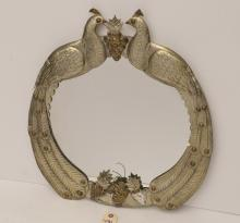 Mexican pierced tin peacock mirror
