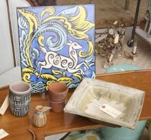 (5) piece Mid Century studio pottery group