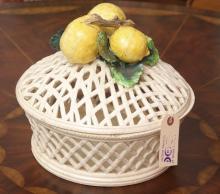 Italian glazed pottery lemon centerpiece