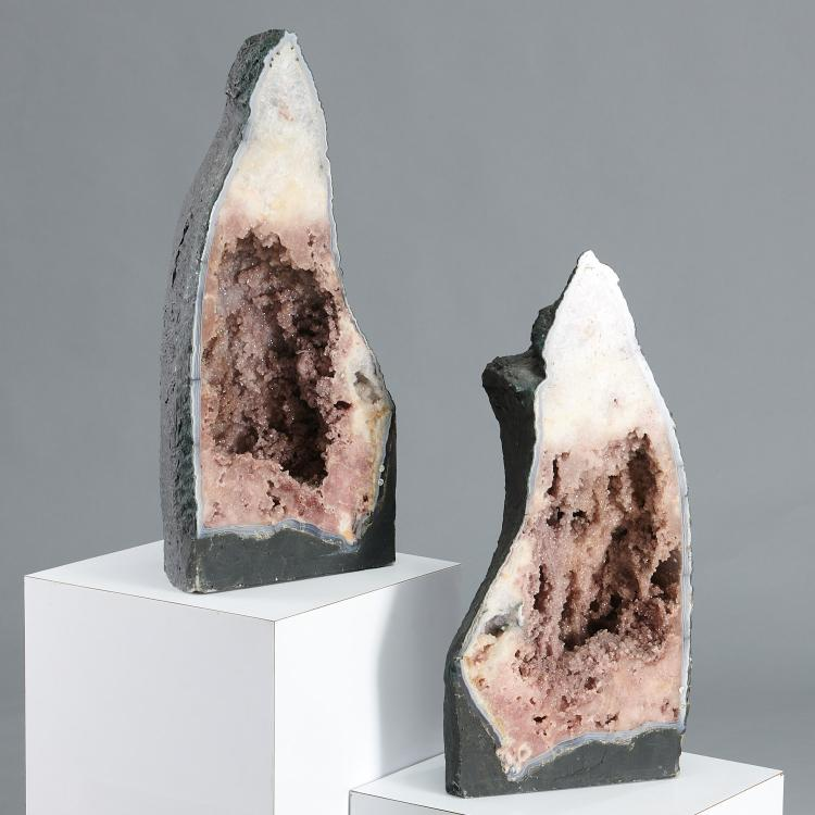 Pair 2-foot geode cathedrals
