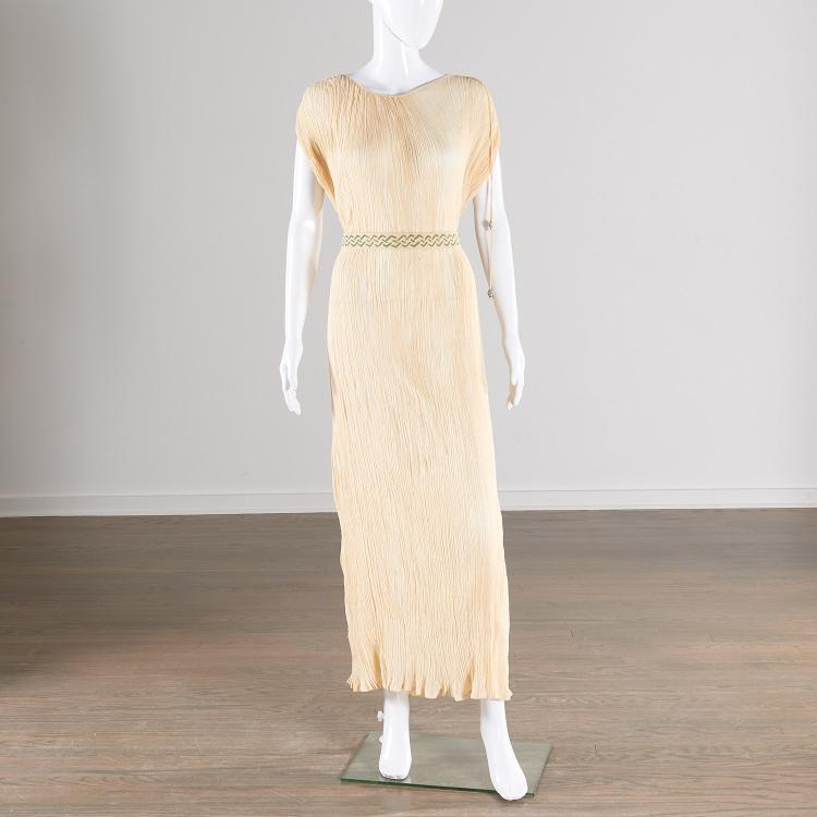 Mariano fortuny ivory cotton delphos gown - Fortuny real estate ...