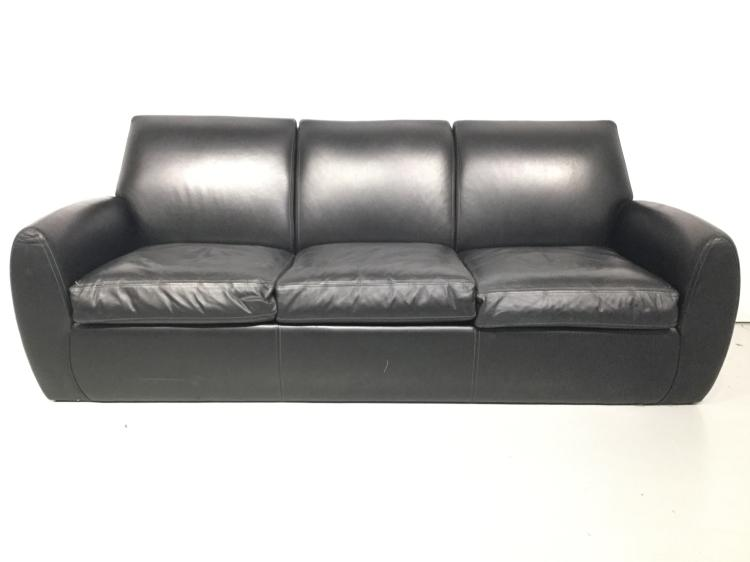 Dakota Jackson Ke Zu Black Leather Sofa