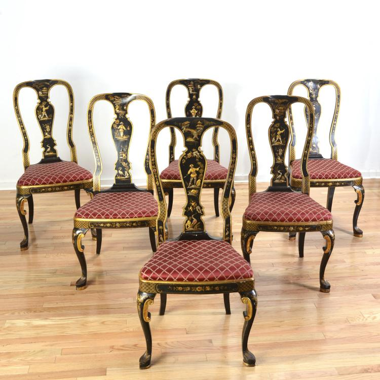 6 Queen Anne Style Black Japanned Dining Chairs