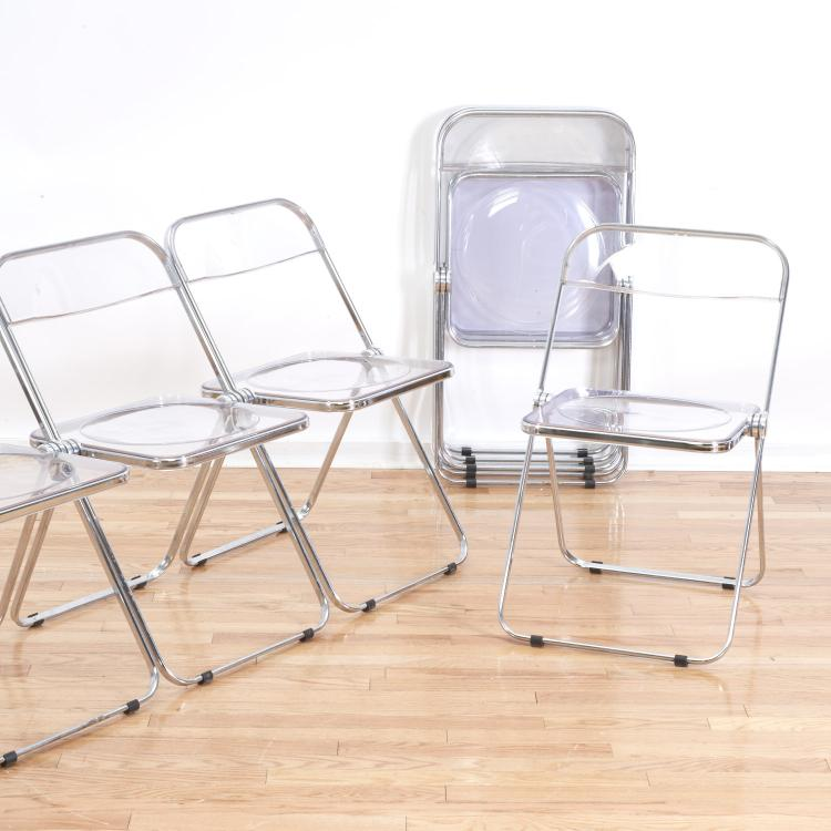 "Set 8 Castelli ""Plia"" Lucite folding chairs"