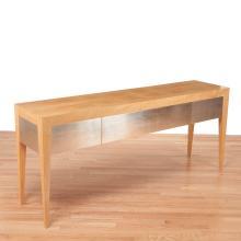 Arbus style blonde wood, silver leaf sideboard