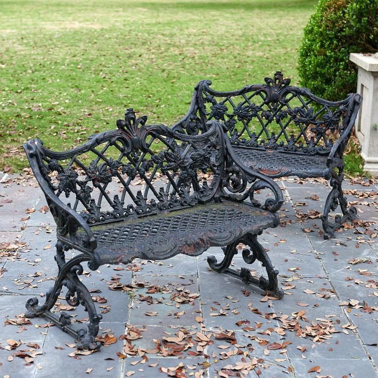 Nice Pair Antique Cast Iron Garden Benches