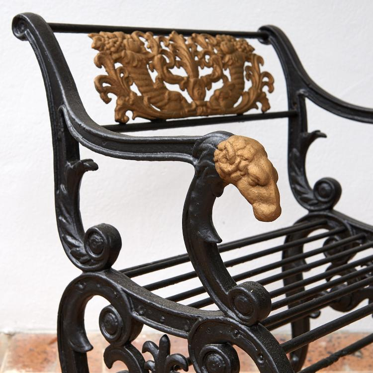 Pair Antique Painted Cast Iron Garden Benches