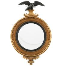 Exceptional large Regency giltwood convex mirror